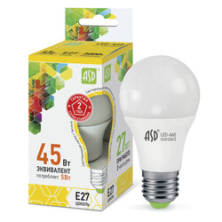 Лампа светодиодная LED-A60-standard 5Вт 160-260В Е27 3000К 400Лм ASD