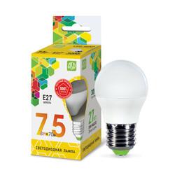 Лампа светодиодная LED-ШАР-standard 7.5Вт 230В Е27 3000К 675Лм ASD