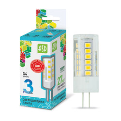 Лампа светодиодная LED-JC-standard 3Вт 12В G4 4000К 270Лм ASD