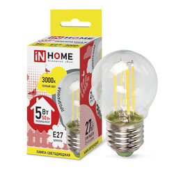 Лампа светодиодная LED-ШАР-deco 5Вт 230В Е27 3000К 450Лм прозрачная IN HOME