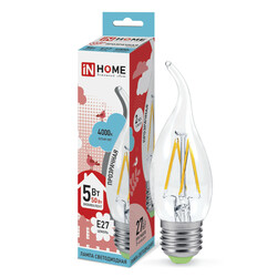 Лампа светодиодная LED-СВЕЧА НА ВЕТРУ-deco 5Вт 230В Е27 4000К 450Лм прозрачная IN HOME