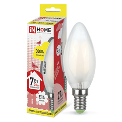 Лампа светодиодная LED-СВЕЧА-deco(М) 7Вт 230В Е14 3000К 630Лм матовая IN HOME