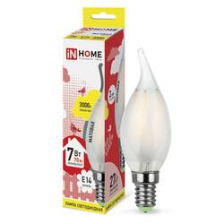 Лампа светодиодная LED-СВЕЧА НА ВЕТРУ-deco(М) 7Вт 230В Е14 3000К 630Лм матовая IN HOME