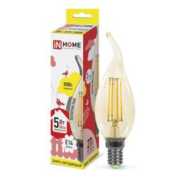 Лампа светодиодная LED-СВЕЧА НА ВЕТРУ-deco(З) 5Вт 230В Е14 3000К 450Лм золотистая IN HOME