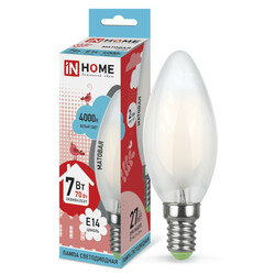 Лампа светодиодная LED-СВЕЧА-deco(М) 7Вт 230В Е14 4000К 630Лм матовая IN HOME
