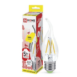 Лампа светодиодная LED-СВЕЧА НА ВЕТРУ-deco 5Вт 230В Е27 3000К 450Лм прозрачная IN HOME