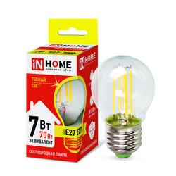 Лампа светодиодная LED-ШАР-deco 7Вт 230В Е27 3000К 630Лм прозрачная IN HOME