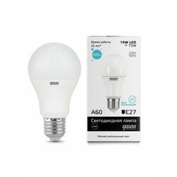 Светодиодная лампа  LED A60 10W E27 920lm  4100K GAUSS ELEMENTARY