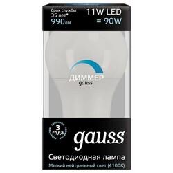 Светодиодная лампа  LED A60-dim E27 11W 990lm 4100К  диммируемая GAUSS BLACK