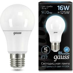 Светодиодная лампа  LED A60 16W E27 1470lm 4100K GAUSS BLACK