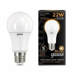 Светодиодная лампа  LED A70 22W E27 1560lm 3000K GAUSS BLACK