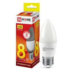 Лампа светодиодная LED-СВЕЧА-VC 8Вт 230В Е27 3000К 600Лм IN HOME