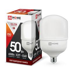 Лампа светодиодная LED-HP-PRO 50Вт 230В Е27 с адаптером E40 6500К 4500Лм IN HOME