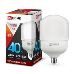 Лампа светодиодная LED-HP-PRO 40Вт 230В Е27 с адаптером E40 4000К 3600Лм IN HOME