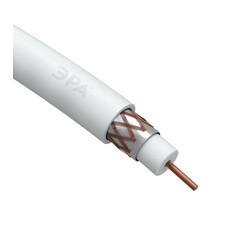 Кабель коаксиальный RG-6U 75 Ом СU(оплетка,Al.64%) PVC цвет белый 100м. ЭРА