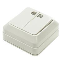7123-W Выключатель 2кл. о/у с подс.бел.1201(7123) о/у 10/200 IN HOME