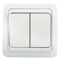 2023-W Выключатель 2кл. с/у СLASSICO белый  (2200) 10/200 IN HOME