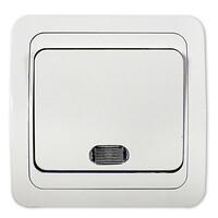 2121-W Выключатель 1кл. с/у с подсв. СLASSICO белый (2101) 10/200 IN HOME