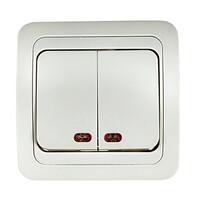 2123-W Выключатель 2кл. с/у с подсв. СLASSICO белый (2101) 10/200 IN HOME
