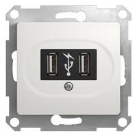 GSL000132 Розетка USB, 5В /1400 мА, 2 х 5В /700 мА, механизм, белый (6шт) GLOSSA