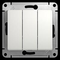 GSL000131 Выключатель 3-клавишный , сх.3, 10АХ, механизм, белый (20шт) GLOSSA