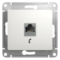 GSL000181Т Розетка телефонная RJ11 механизм, белый (10шт) GLOSSA