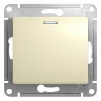 GSL000213  Выключатель  1-клавишный с подсветкой , сх.1а, 10АХ механизм, бежевый 20 шт GLOSSA