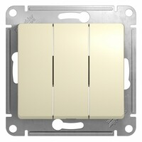 GSL000231  Выключатель  3-клавишный, сх.1, 10АХ механизм, бежевый 20 шт GLOSSA