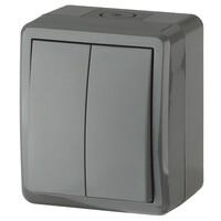 11-1404-03 Выключатель 2 клавишный о/у IP54, 10АХ-250В серый ЭРА