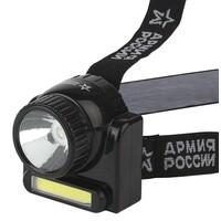 GA-501 Фонарь ЭРА АРМИЯ РОССИИ налобный Гранит [3Вт COB + 3Вт LED, ближ и дальн свет, аккум, карт