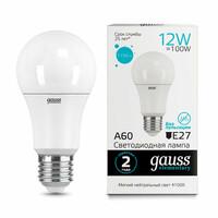 Светодиодная лампа  LED А60 12W E27 1150lm 4100K GAUSS ELEMENTARY