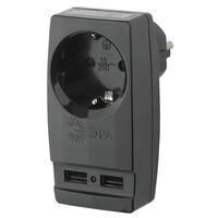 SP-1e-USB-B Тройник Адаптер «Polynom» 1гн 220V + 2xUSB 2100mA, c заземл ЭРА