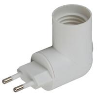 Переходник вилка-Е27 с выключателем, белый ЭРА